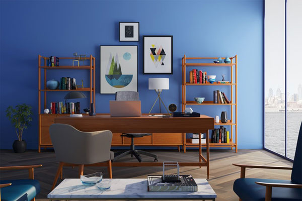 bold color-scheme home office